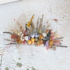 Dried Flower Head Piece, Floral Autumn Comb, Australian Native Leaves and Foliage, Wedding Hair Accessory, Natural Wildflower Headpiece by VelvetTeacup on Etsy