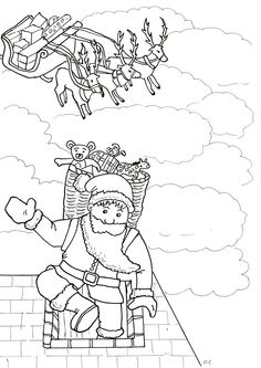 Santa Claus entering into the Fireplace, Free Christmas coloring page for children, by Olivier