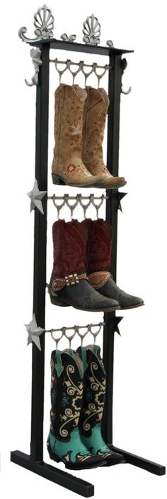 Beautifully crafted western style boot racks  and display several pairs of boots, belts, hats and anything you can pull out of your pockets. Made of steel and powder coated, with the look and feel of fine furniture, they are durable and versatile.