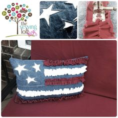 (Adorable... if one of my friends or family who sew were to make this for me, I would be so pleased!)  Love this Ruffle Flag Pillow from the Sewing Loft.