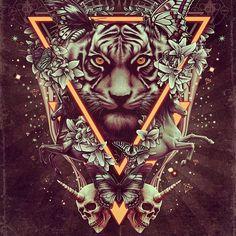 Tiger Mantra ✏ Follow me for more art!  #christopher #lovell #art #artist #illustration #drawing #sketchbook #instaart #gallery #band #merch #skull  #tiger #mantra  #t-shirt #horse #spiritual #iphonesia #followme