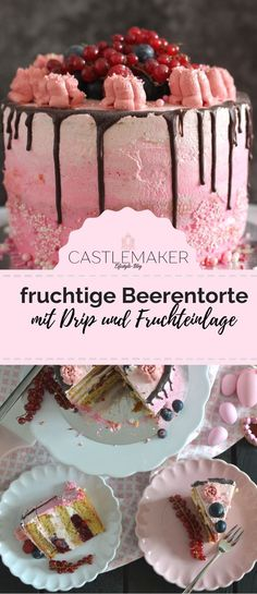 Fruchtige Torte im Ombre-Look mit Himbeeren & Heidelbeeren // Drip Cake Fruity berry cake with raspberries and blueberries. Perfect for anyone who doesn't like butter cream. The cake has fru Drop Cake, Italian Cookie Recipes, Italian Desserts, Food Cakes, Cookies Roses, Nake Cake, Berry Cake, Dessert Sauces, Raspberries