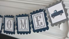 "Vintage Pickup Truck ""It's a Boy"" Navy Blue & Grey Chevron - Matching Items Cupcake Toppers, Door Sign, Favor Tags Avail. Looking for the perfect baby shower party banner? This banner says ""Its a Boy"", ""Mommy to Be"" or ""Baby Shower"" with your choice of vintage pickup truck graphics. You can add matching cupcake toppers or cake toppers to your order here: [http://www.amazon.com/dp/B0160P3SPC], [Door Sign here: http://www.amazon.com/dp/B0160P8BGI], [Favor Tags:..."