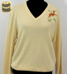 Bright Yellow Cashmere Sweater embroidered with bee design ...