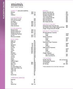 Placentia Salon Price List