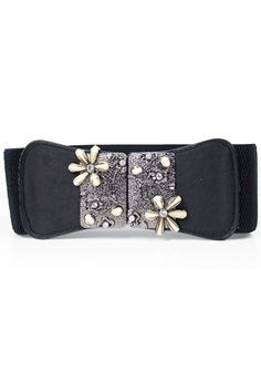 This waist belt crafted in PU, featuring rhinestone embellished metal flower with hook fastening to front center, a wide-cut design, an elasticated insert to the reverse.$24