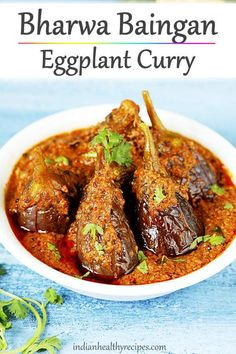 Bharwa baingan is a stuffed eggplant curry that is delicious, very flavorful and easy to make. Serve it with rice or roti. Veg Recipes, Curry Recipes, Vegetarian Recipes, Cooking Recipes, Recipies, Veg Curry, Vegetable Curry, North Indian Recipes, Indian Food Recipes