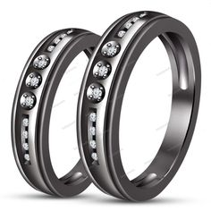 Prong & Promise Ring Lovers Couple Wedding Bands Black Gold Fn White Sim…