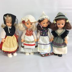 Set of 4 Dolls in Ethnic Costumes Souvenir Dolls International Dress Jointed Small Dolls Baby Small Rubber Plastic Doll Set Vintage by KoolKoolThangs on Etsy
