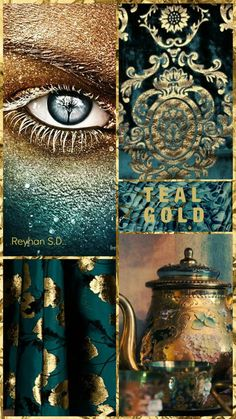 couleur ' Teal & Gold '' by Reyhan S. & # Teal & Gold & # & # por Reyhan S. Colour Pallette, Colour Schemes, Color Trends, Colour Combinations, Palette Pastel, Color Collage, Teal And Gold, Dark Teal, Color Balance