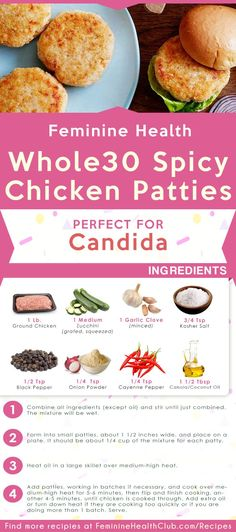 Easy Recipe for Spicy Chicken Patties Recipe For Yeast Infection. That will help your Yeast Infection treatment. Natural Remedy for Yeast Infection with healthy food and diet. Spicy Chicken Patties Recipe, Chicken Patty Recipes, Recipes With Yeast, Real Food Recipes, Healthy Recipes, Advocare Recipes, Healthy Meals, Delicious Recipes, Whole30