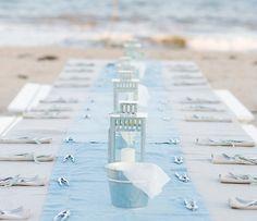 Spring, Summer, beach , beachy, blue, chic, decor, reception, sand, sea, seaside, table, breezy, casual, wedding