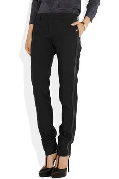 Saint Laurent | Leather-trimmed wool-twill tuxedo pants | NET-A-PORTER.COM = $990