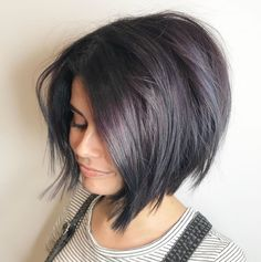 Textured Purple-Tinted Black Bob 60 Classy Short Haircuts and Hairstyles for Thick Hair Short Hairstyles For Thick Hair, Short Bob Haircuts, Hairstyles Haircuts, Curly Hair Styles, Wedding Hairstyles, Braided Hairstyles, Bobs For Thick Hair, Medium Hairstyles, Black Hairstyles