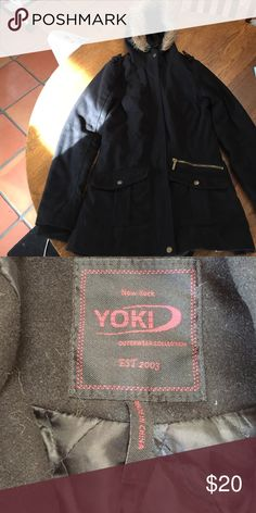 YOKI Black Winter Coat• Never Worn This super cute coat is black with a hood and zipper in the front. It has two pockets as well! It is in super great condition. I bought it last year and it came in too small so I ordered a larger one and love it❤ Let me know if you are interested and feel free to make me an offer! Yoki Jackets & Coats