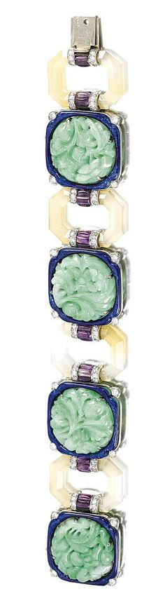 Mauboussin jade and diamond bracelet 1920