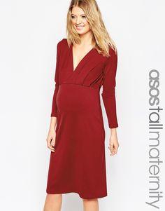 ASOS Maternity TALL Jersey Crepe Plunge Midi Dress