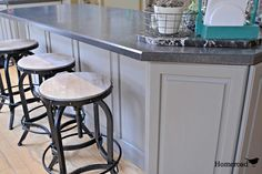 Make your old cabinets look new again... these look awesome and are holding up fantastic in a busy kitchen! http://www.homeroad.net/2013/05/chalk-painted-kitchen-cabinets.html