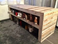 This Pallet Bench Has Two Shoe Storage Shelves!