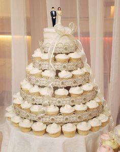 La pièce-montée en cupcakes : une idée originale.                                              gâteau au cupcake