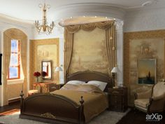 Пентхаус. Спальня: интерьер, квартира, дом, спальня, классицизм, ампир, неогрек, палладианство, 10 - 20 м2 #interiordesign #apartment #house #bedroom #dormitory #bedchamber #dorm #roost #classicism #10_20m2 arXip.com