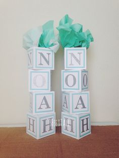 Blue and white, Baby boy shower centerpiece, BLUE BORDERS,alphabet block centerpiece, baby shower decorations Juegos Baby Shower Niño, Idee Baby Shower, Mesas Para Baby Shower, Shower Bebe, Baby Shower Parties, Baby Shower Themes, Baby Boy Shower, Shower Ideas, Baby Showers