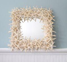 beach decor, nautical decor, nautical mirror, starfish, star fish, starfish mirror, seashell mirror, shell mirror, star fish mirror, finger starfish, white starfish, beach wedding, beach wedding gift,