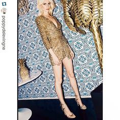"#TBT with a #Repost from Poppy Delevingne, sister of Cara Delevingne and British it-girl flag-gb. Poppy is posing with style and Christian Lacroix Maison ""Azulejos"" wallpaper in the background is cherry on the cake. #ChristianLacroix #Wallpaper #LacroixLovesGold #ChristianLacroixMaison #Azulejos #ItGirl #Model"