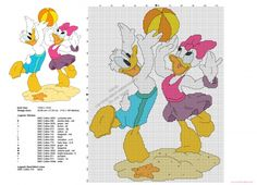 Donald et Daisy jouent au volley-ball grille point de croix Disney gratuit