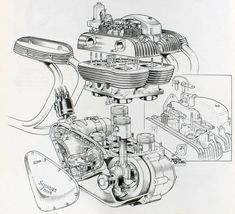 Motorcycle Blueprints And Sectioned Art