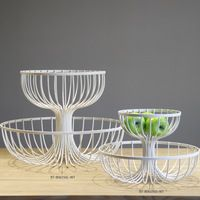 Source New Design Scrolled Metal Wicker Double Tier Fruit Basket Serving Tray Bowl On M Alibaba