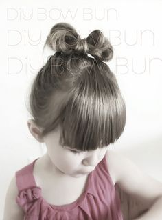 DIY BOW BUN by Kenziepoo. This is such a cute idea! I will do this to my little girls' heads if they are blessed with more hair than myself.