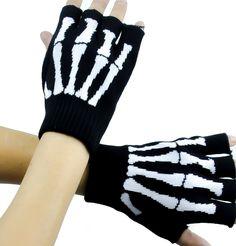 Skeleton Gloves Fingerless Goth Deathrock