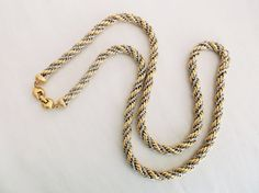 Vintage MONET Silver Gold Tone Thick Twisted by MemawsTopDrawer