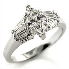 3.5ct Marquise cut Engagement Ring Platinum Plated Cubic Zirconia