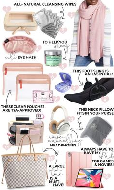 How to Survive a Hour Flight - all the ESSENTIALS you need for a long plane ride! : How to Survive a Hour Flight - all the ESSENTIALS you need for a long plane ride! Travel Essentials For Women, Road Trip Essentials, Airplane Essentials, Carry On Bag Essentials, Travel Necessities, Travel Bags For Women, Airplane Hacks, Airplane Outfits, Outfit Essentials