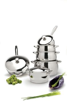 Hrnce sada Cosmo 12-dílná Kitchen Cookware Sets, Stainless Steel Pans, Cosmos, Silver, Baking, Image, House, Home, Bakken