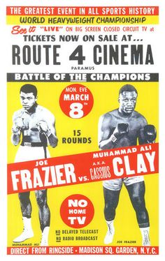 "Cassius Clay (Muhammad Ali) vs Joe Frazier Boxing poster Madison Sq. Garden • $9.95 - 100% Mint unused condition • Well discounted price + we combine shipping • Click on image for awesome view • Poster is 12"" x 18"" • Semi-Gloss Finish • Great Boxing Collectible - superb copy of original • Usually ships within 72 hours or less with > tracking. • Satisfaction guaranteed or your money back. Sportsworldwest.com"