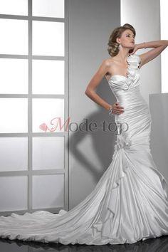 großes Bild 1 Normale Taille Seite drapiertes ärmellos ein Schulterfreies bodenlanges Brautkleid