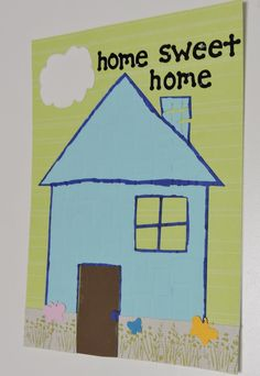 New Home card, Silhouette Cameo with brick embossed pattern