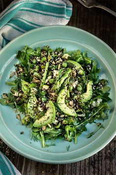 Seeds and greens kaniwa salad - this salad is all about the texture and fresh spring flavors - featuring 6 different seeds, including the superstar kaniwa seed, and crunchy green veggies, it's delicious and super nutritious.