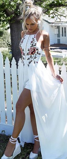 amazing summer outfit: white maxi dress + heels