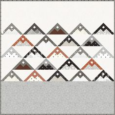 Mountainside quilt pattern by Vanessa Goertzen of Lella Boutique. Mountain quilt blocks made from fat eighths. Fabric is Smoke & Rust by Lella Boutique for Moda Fabrics shipping April 2021.