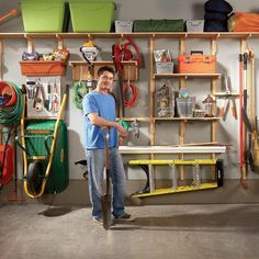 """Garage organization - could be cheapest making my own external """"studs"""" from which to attach shelves with cheap shelf brackets"""
