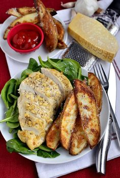 Parmesan Garlic Chicken with Roasted Potato Wedges Recipe- make it a healthy dinner. Serve with a salad, soup and/or dipping sauce.