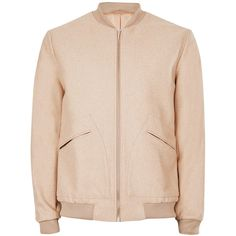 b729e087be3 TOPMAN Camel Melton Wool Rich Smart Bomber Jacket ( 68) ❤ liked on Polyvore  featuring