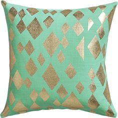 "geometric foil aqua 16"" pillow  | CB2"