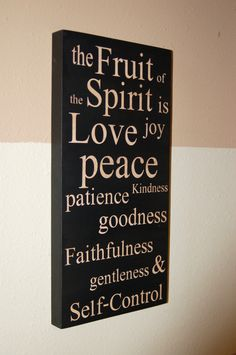 Family Values Subway Art Sign, The Fruit of the Spirit, wood sign, Easter. $40.00, via Etsy.