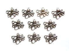 5 Antique Silver Octopus Charms by TreeChild1 on Etsy