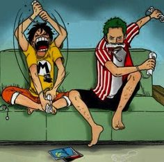 Luffy and Zoro playing Nintendo Wii - Luffy's just going crazy, and Zoro's using his Santoryuu style :3